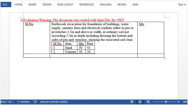 How to Create a Nested Table in Word in C#