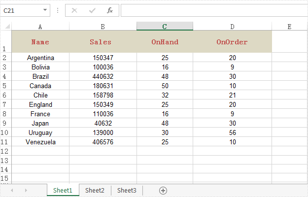 Create a table in Excel in Java