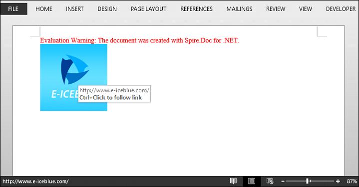Create an Image Hyperlink in Word in C#, VB.NET