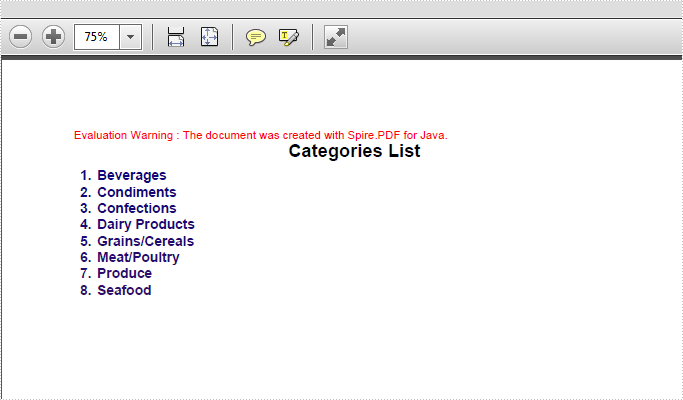 Create number list and bullet list on PDF in JAVA