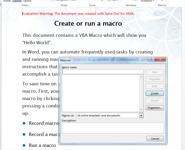 Detect and remove Word Macros in Java