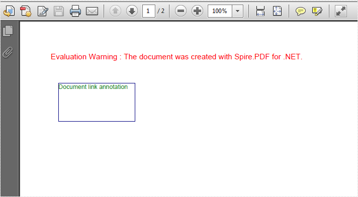 How to add a document link annotation to PDF in C#