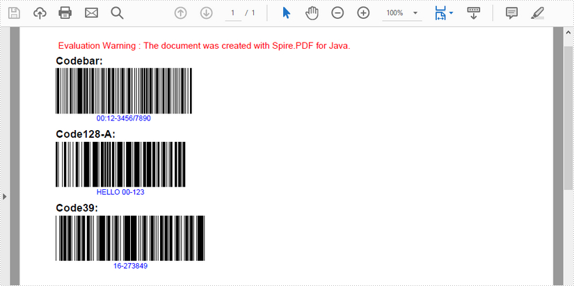 Draw Barcode in PDF in Java