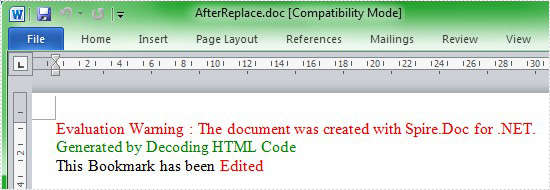 Edit and replace bookmark with HTML