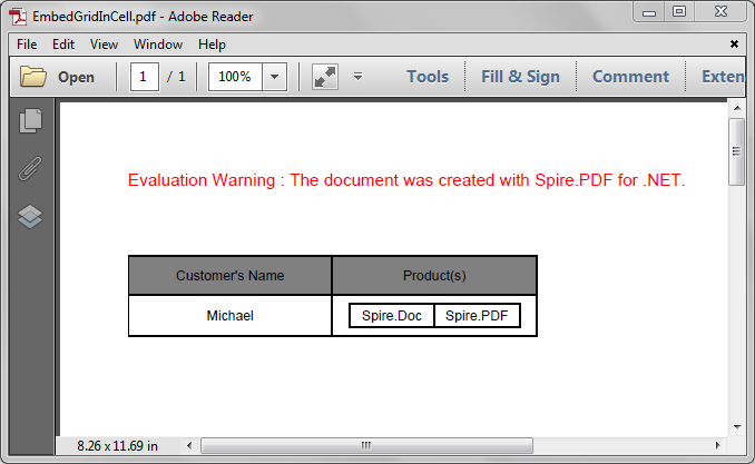 Embed a Grid into a Grid Cell in PDF in C#