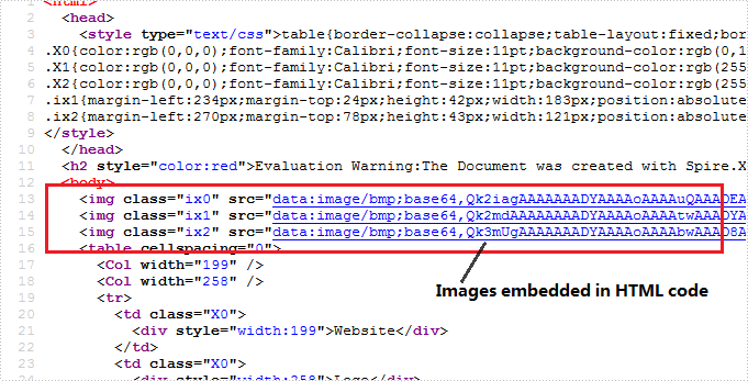 Embed image in HTML when converting Excel to HTML