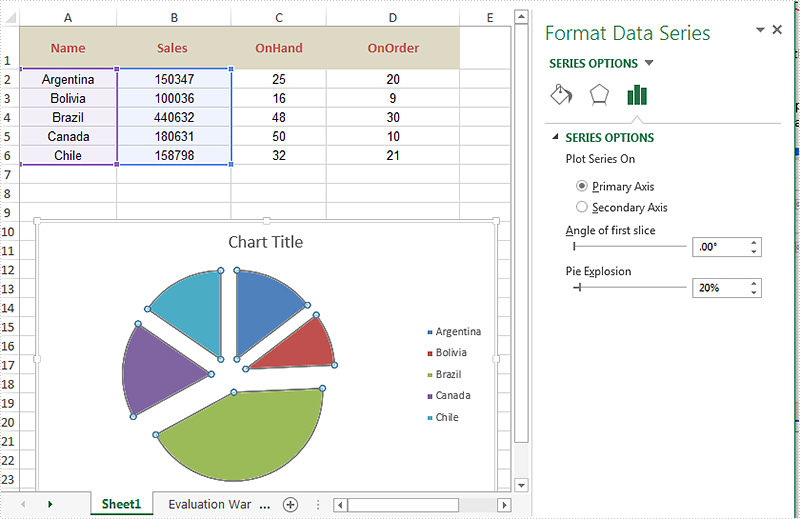 How to explode a pie chart sections in C#