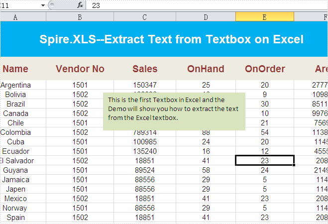 How to Extract Text from a Textbox on Excel worksheet in C#