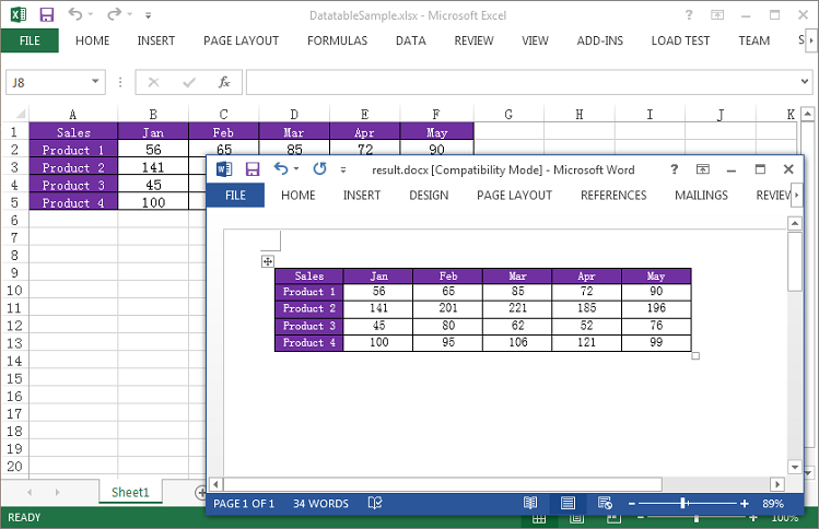 How to export excel data to word table maintaining for Table design on word