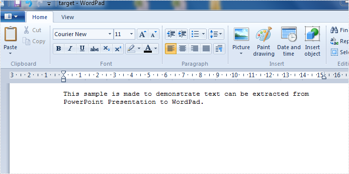 Extract text from PPT slide to WordPad