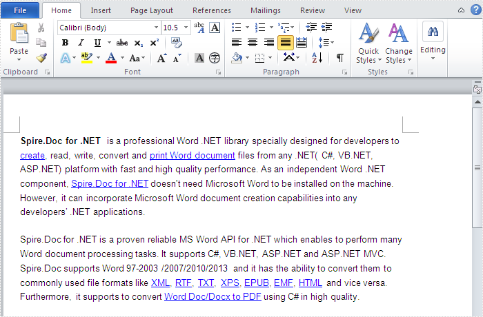 Finding Hyperlinks in a word document