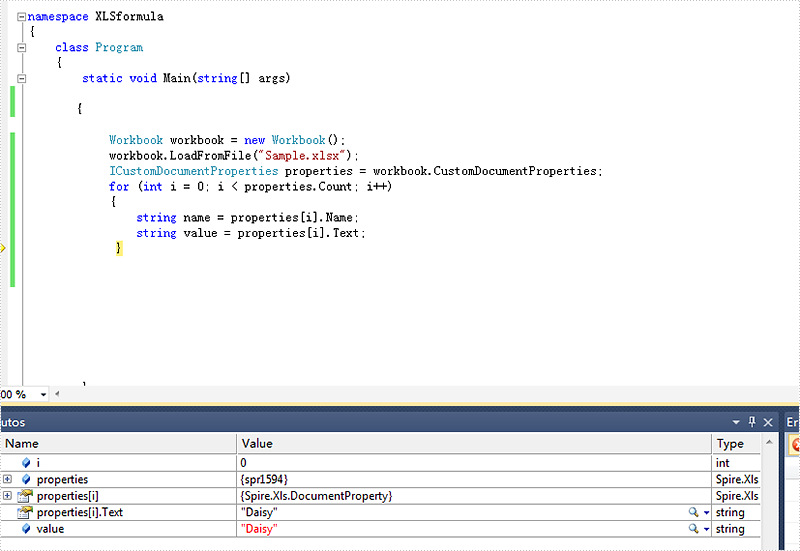 How to Get Excel Properties and Custom Properties in C#