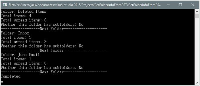 Get Folder Information from PST File in C#, VB.NET