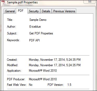 Get PDF Properties in C#, VB.NET
