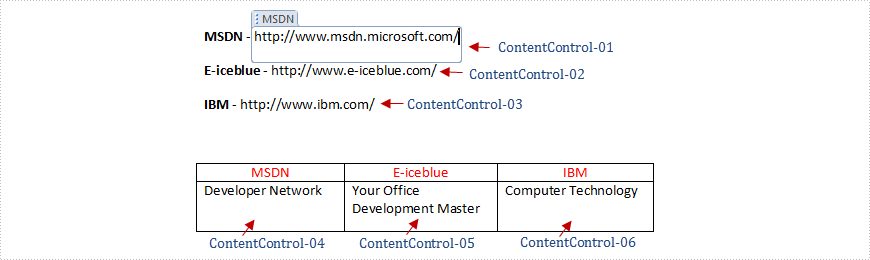 Get alias, tag and id of content controls in a Word document in C#