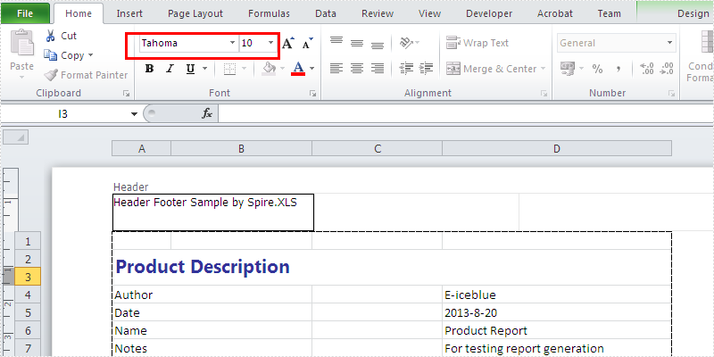 How to change the font and size for Excel header and footer in C#