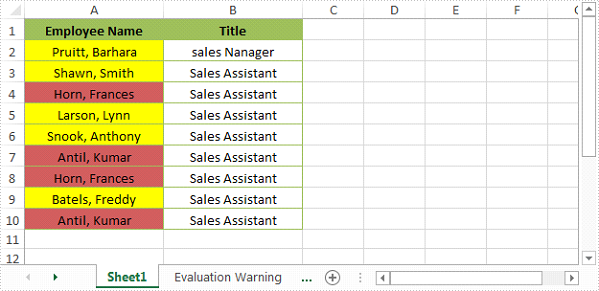 Highlight Duplicate and Unique Values in Excel Using C#