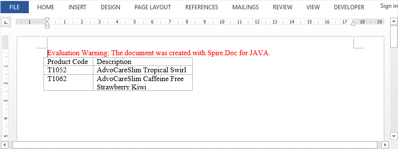How to Autofit a Word Table in Java