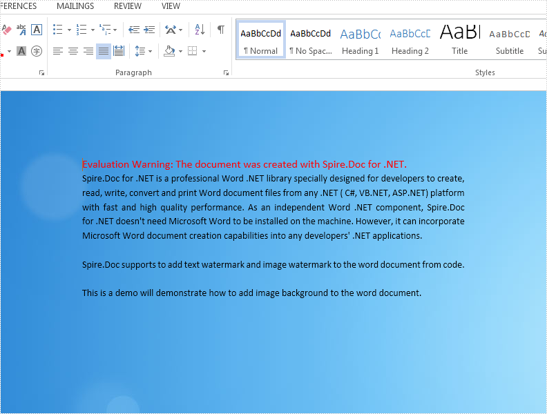 Set image background for word document in C#