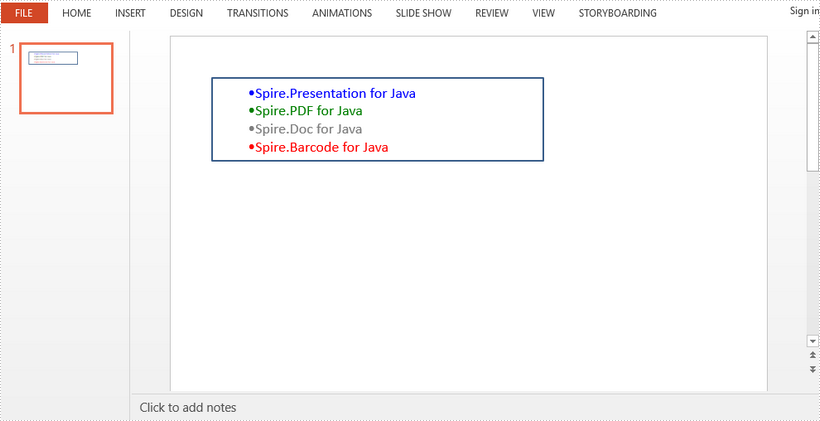 Insert HTML String in PowerPoint in Java