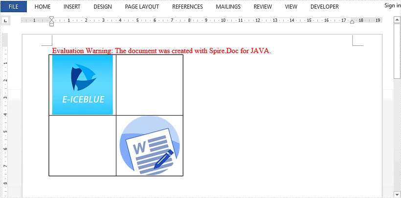 Insert Images to a Table in Word in Java