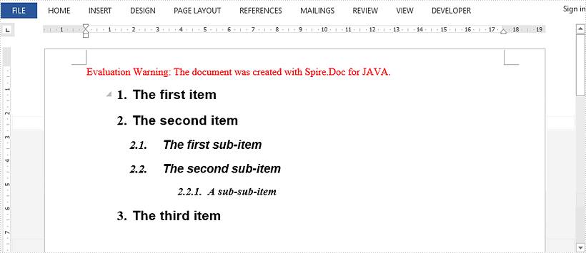 Insert Multi-level Lists in Word in Java