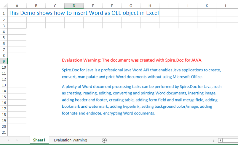 Insert OLE Object in Excel in Java applications