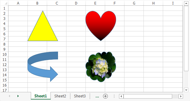 Insert Shapes to Excel Worksheet in C#