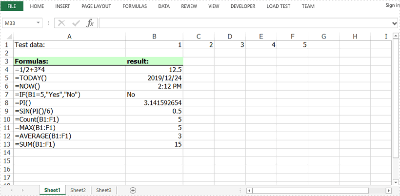 Insert and Read Formulas in Excel in Java