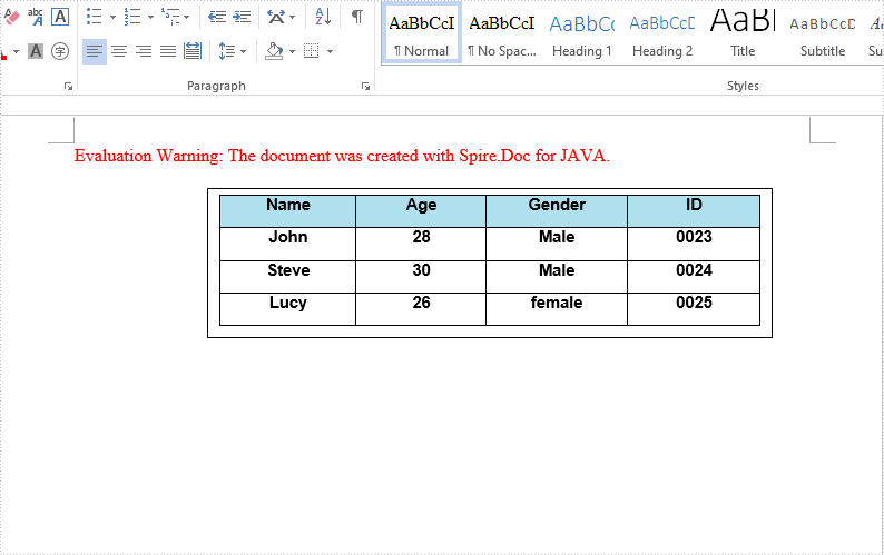 Insert table to Text Box in Word in Java