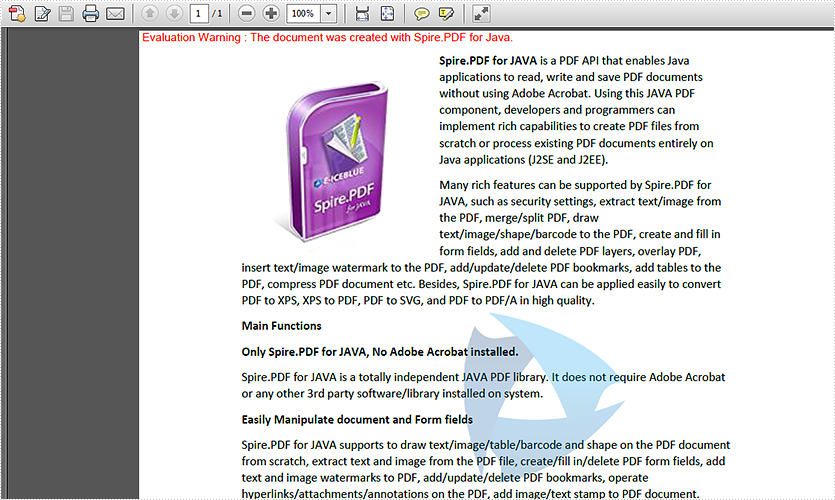 JAVA add image watermark to PDF