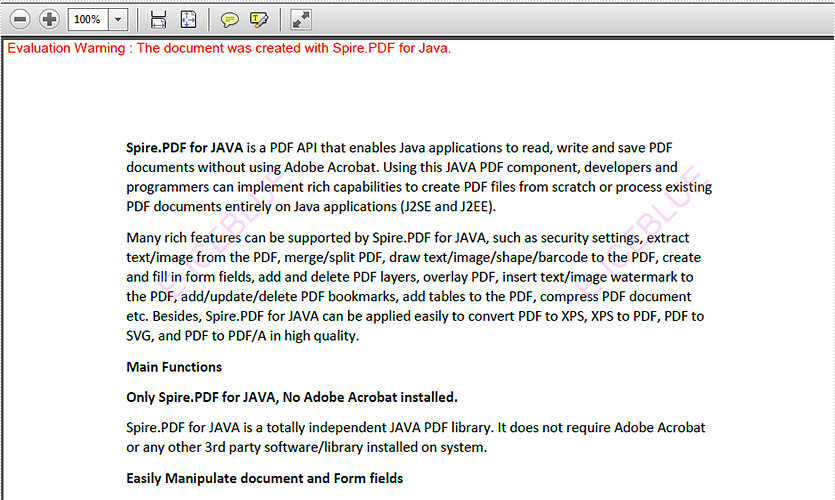 JAVA insert text watermark to PDF