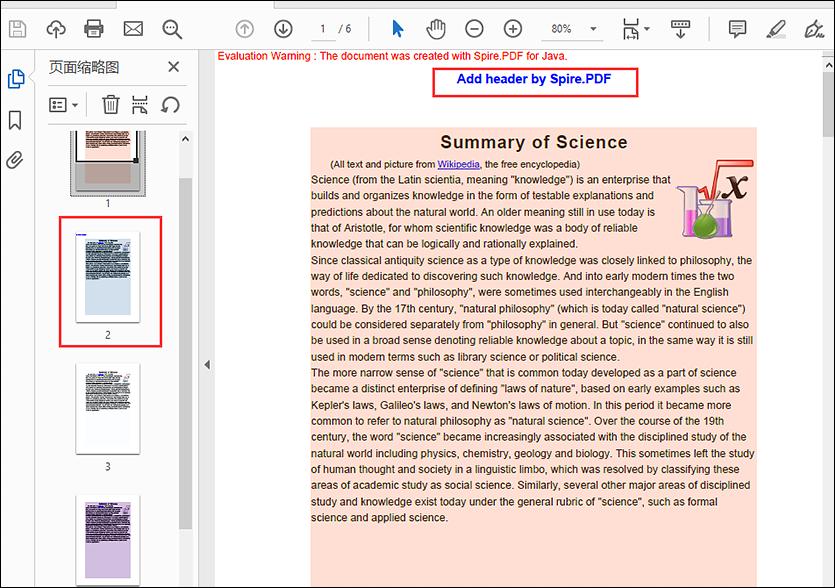 Java add multiple headers to PDF