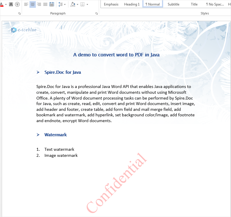 Java add text watermark and image watermark to word document