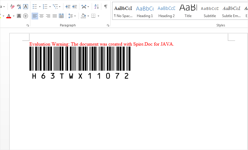 Java create Barcode to Word document