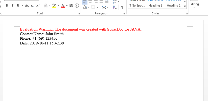 Java create mail merge and merge text value on Word