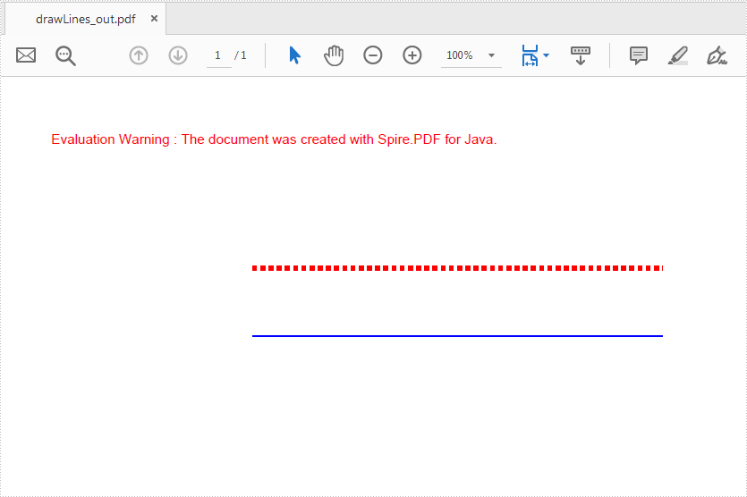 Java draw dash and solid line to PDF