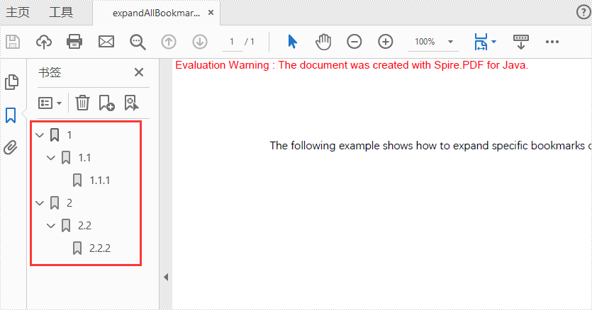 Java expand and collapse the bookmarks for PDF