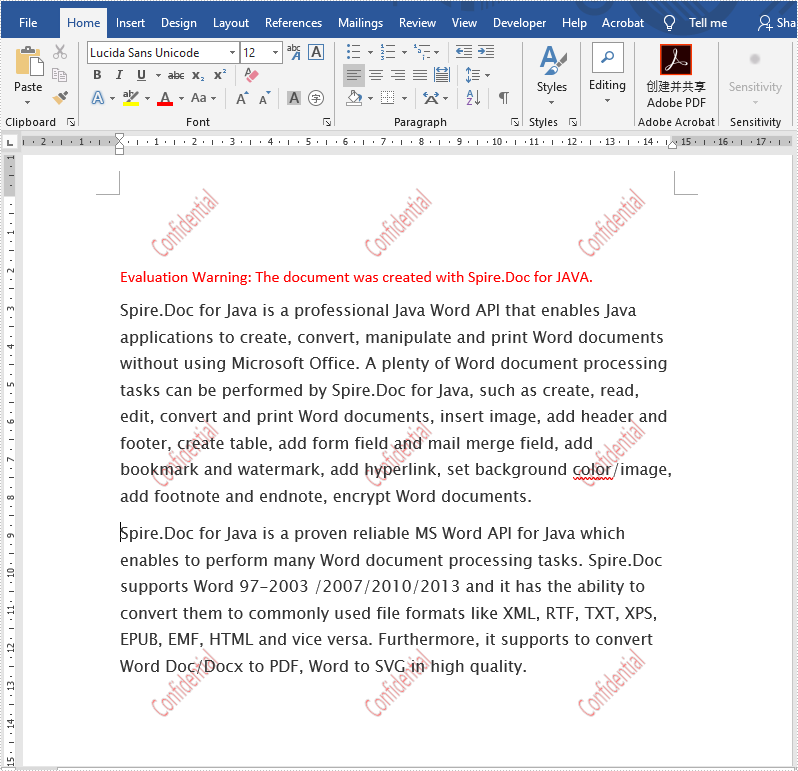 Java insert multiple text watermarks to Word document