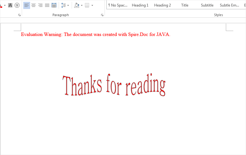 Java insert WordArt to word document