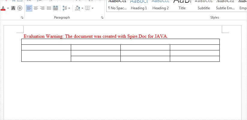 Java merge and split table cells on Word document