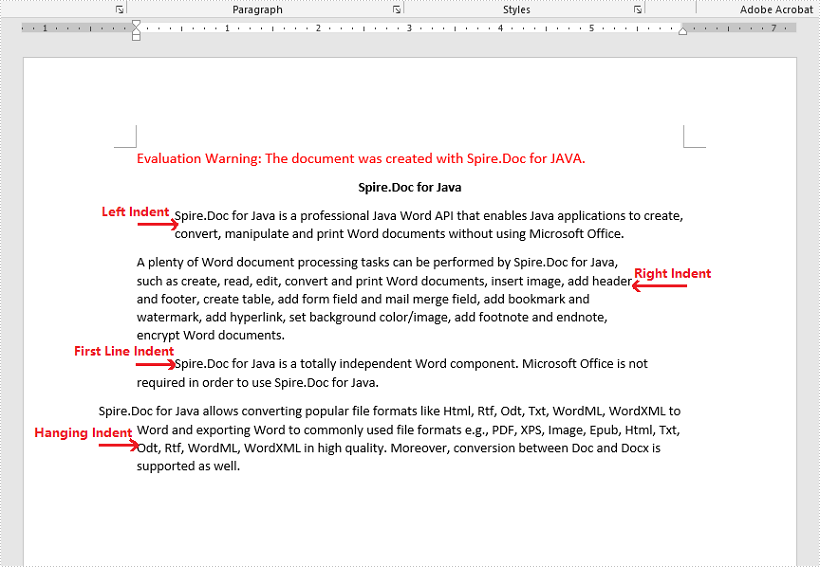 Java set paragraph indentation for word document