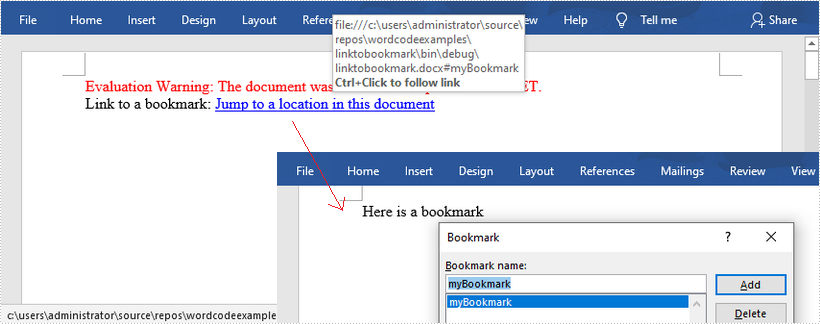 Link to a Bookmark in a Word Document in C#/VB.NET