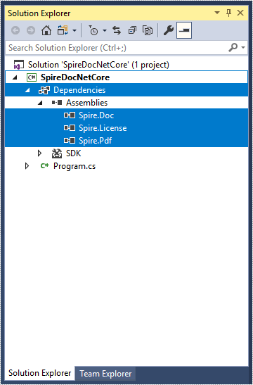 How to Mannually Add Spire.Doc as Dependency in a .NET Core Application
