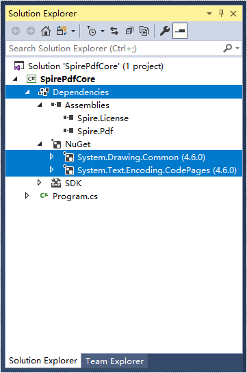 How to Mannually Add Spire.PDF as Dependency in a .NET Core Application