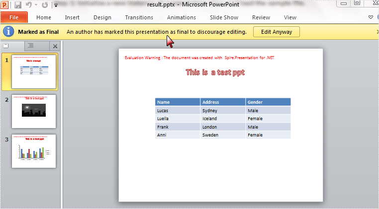 How to Mark a Presentation as Final using Spire.Presentation in C#, VB.NET