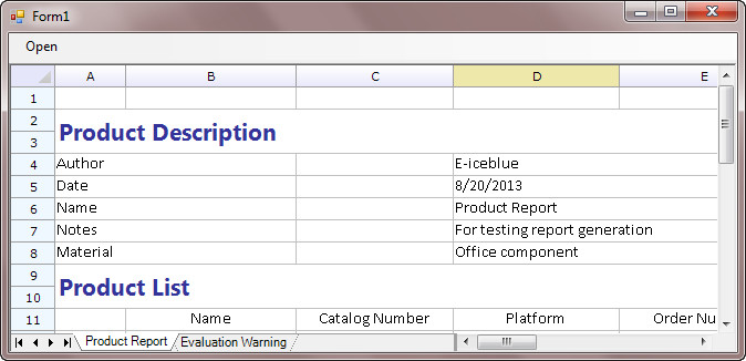 Create a Windows Form Application to Display Spreadsheet