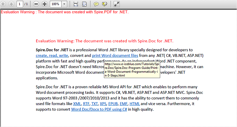Preserve or disable hyperlinks from word to PDF conversion