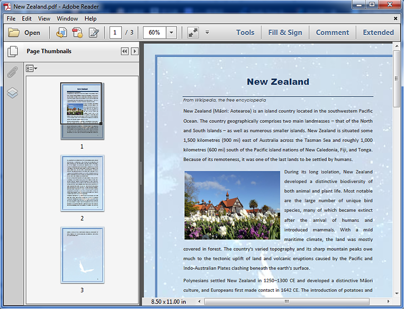 Rearrange Pages in an Existing PDF Document