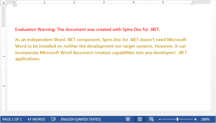 Remove Paragraphs from Word document in C#